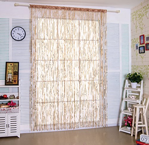 Taiyuhomes Lace Thread Door Sheer Curtain as Screen Door Flat String Fringe Window Panel for Doorway Room Divider or Laundry Living Decor in Party (Tassel Valance Lace)