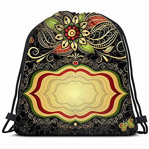 Vintage Valentine Card Gold Frame Hearts Arabic Drawstring Backpack Gym Sack Lightweight Bag Water Resistant Gym Backpack For Women&Men For Sports,Travelling,Hiking,Camping,Shopping Yoga