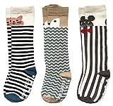 Pro1rise Unisex Baby Knee High Socks Stockings Cartoon Animal Non Slip Tube Long Socks For 1-3 Years Toddler Boys Girls 3 Pairs Pack