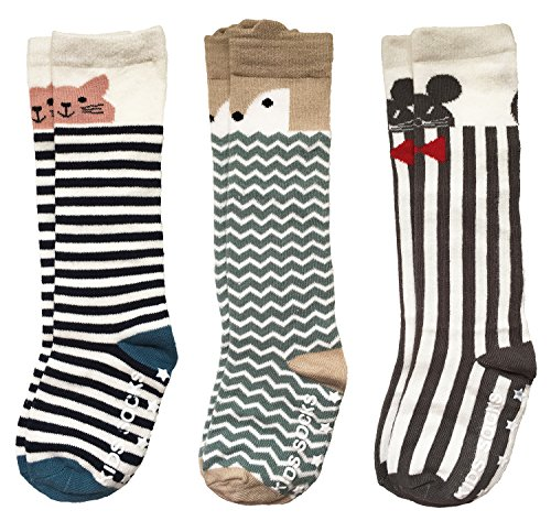 Pro1rise Unisex Baby Knee High Socks Stockings Cartoon Animal Non Slip Tube Long Socks For 1-3 Years Toddler Boys Girls 3 Pairs Pack