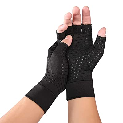 Cher9 1Pair Arthritis Copper Compression Hand Gloves, Fit Carpal Tunnel Hand Wrist Brace Support Highest Copper Content Alleviate Rheumatoid Pains Ease Muscle Tension Relieve: Toys & Games