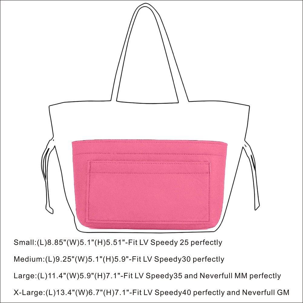 Felt Insert Bag Organizer Bag In Bag For Handbag Purse Organizer, Six Color Three Size Medium Large X-Large (Large, Pink) by ZTUJO (Image #7)