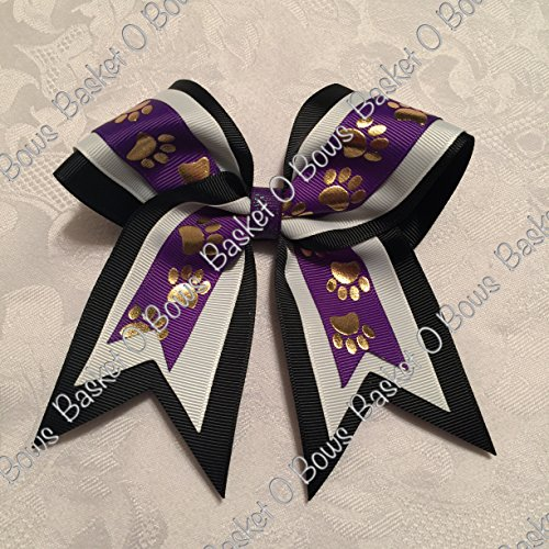 small-bow-regal-purple-with-gold-paws-hair-bow-3-layer-made-to-order