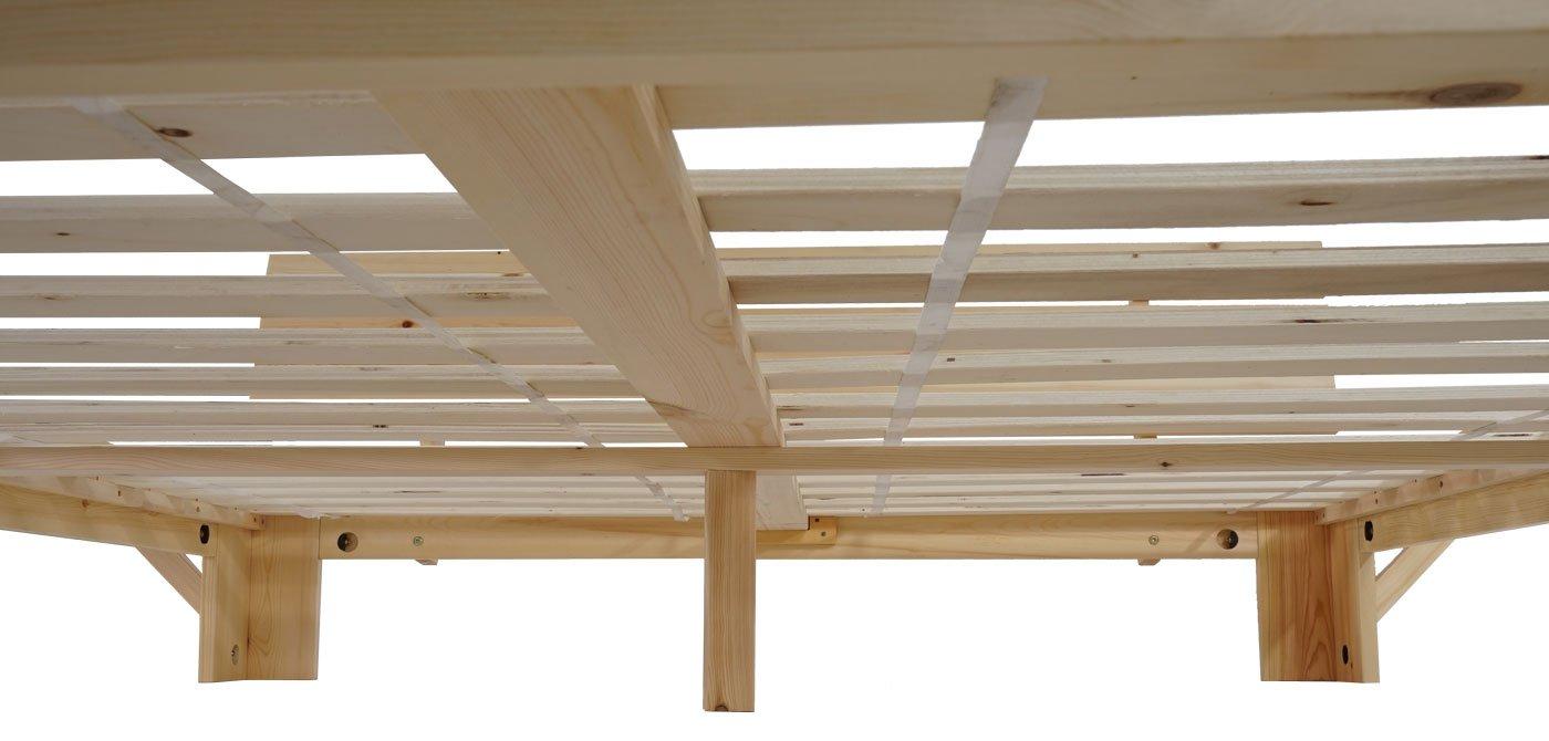 mendler bett perth doppelbett massivholz inkl lattenrost ablage kiefer 160x200cm natur lackiert amazon de kuche haushalt