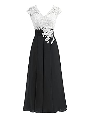 Sarahbridal Women Lace Dress Short Sleeve V Neck Prom Dresses Elegant Wedding Party Formal Ball Gown