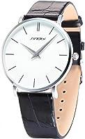 SINOBI White Big Dial Men's Lady Women Unisex Leather Quartz Sport Wrist Watch Gift
