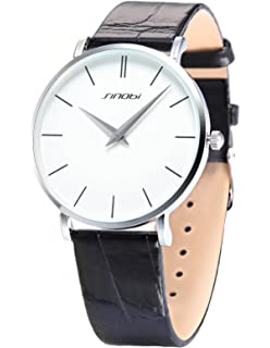 SINOBI White Big Dial Mens Lady Women Unisex Leather Quartz Sport Wrist Watch Gift