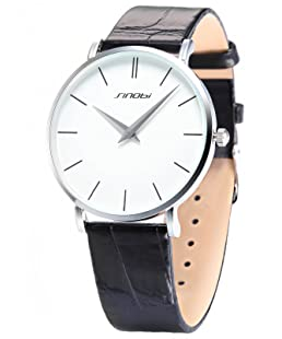 Brief SINOBI Man's Wrist Watch Ultra-thin Case Leather Band Black and Silver