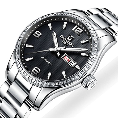 Stainless Steel Sapphire Crystal - Men's Automatic Mechanical Watch Luxury Stainless Steel Sapphire Crystal Waterproof Date Watches (Silver/Black)