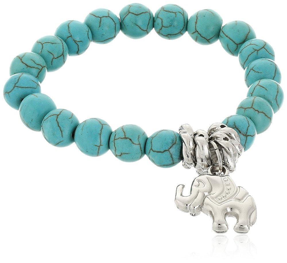BODYA Chap Turquoise Beads Tibetan Silver Cute Lucky Elephant Stretch Beaded Bangle Wrap Bracelet women lady JW2346