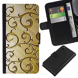 Sony Xperia Z3 D6603 / D6633 / D6643 / D6653 / D6616 , la tarjeta de Crédito Slots PU Funda de cuero Monedero caso cubierta de piel ( Golden Wood Brown Pattern Floral)