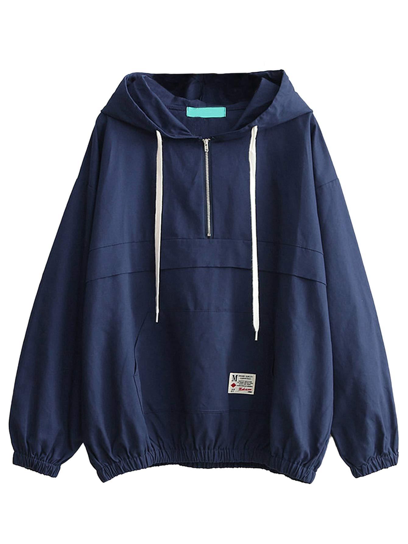 Romwe Women's Lightweight Kangaroo Pocket Anorak Sports Jacket Drawstring Hooded Zip up Windproof Windbreaker Navy XL