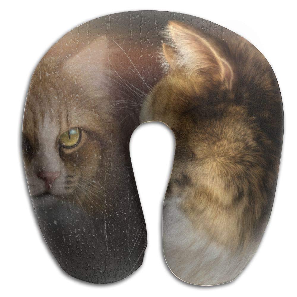 Fantasy Cat Window Reflection Memory Foam U-Shaped Pillow,Unique Travel Rest Pillow for Neck Pain,Breathable Soft Comfortable Adjustable