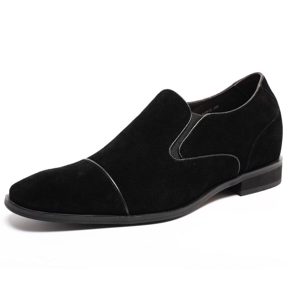 CHAMARIPA Herren British Tuxedo Schuhe,Schwarz and Blau,7 cm erhöhen - K65K02