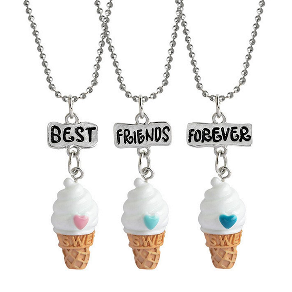 Ice Cream Pendant Necklace Best Friends Forever Friendship Necklace for Girls Boys Matching Set of 3 YJT
