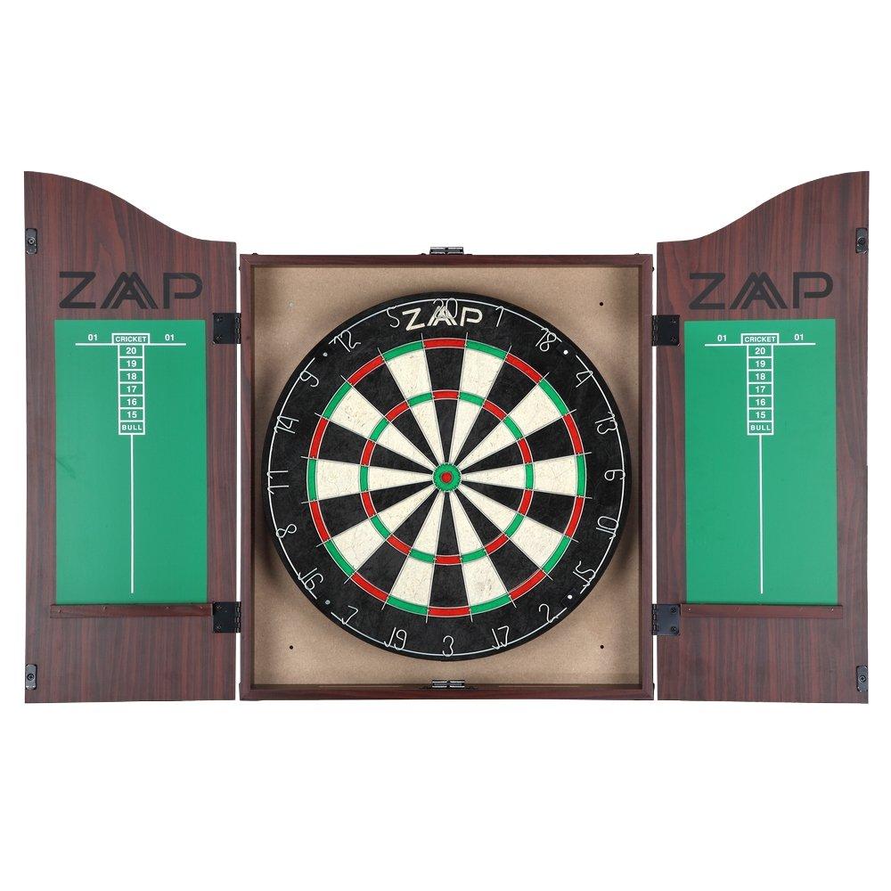 ZAAP Steel Tip Darts Sisal Dartboard & Wood Cabinet Set