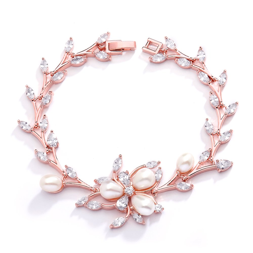 Mariell Top Selling Luxury Blush Rose Gold CZ & Genuine Freshwater Pearl Wedding Bridal Bracelet