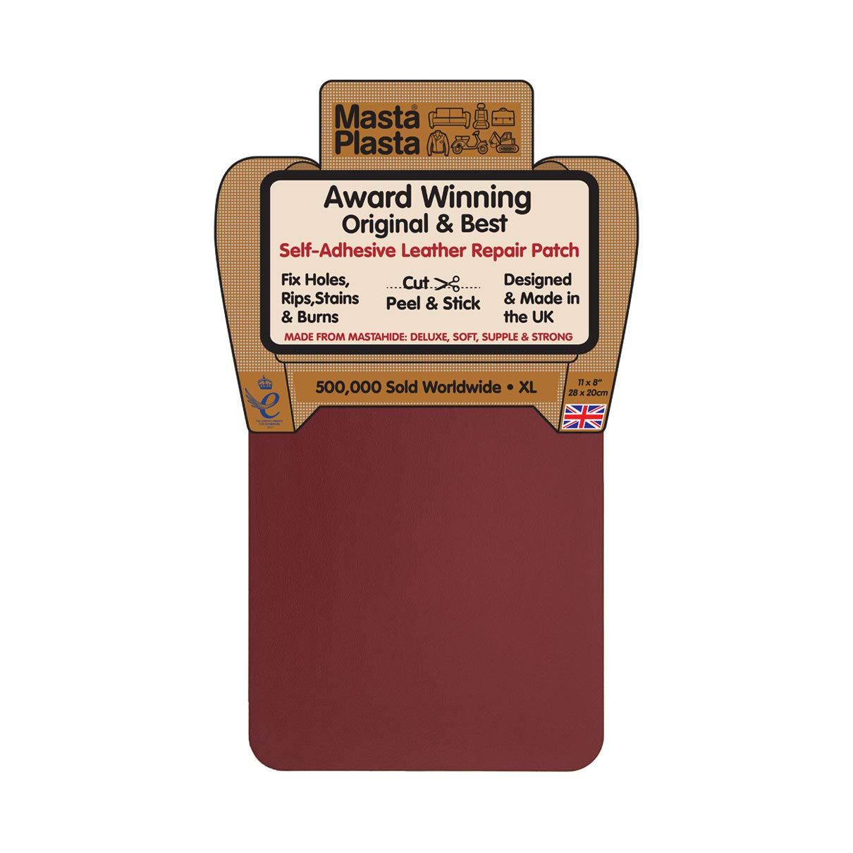 MastaPlasta Self-Adhesive Patch for Leather and Vinyl Repair, XL Plain, Red -