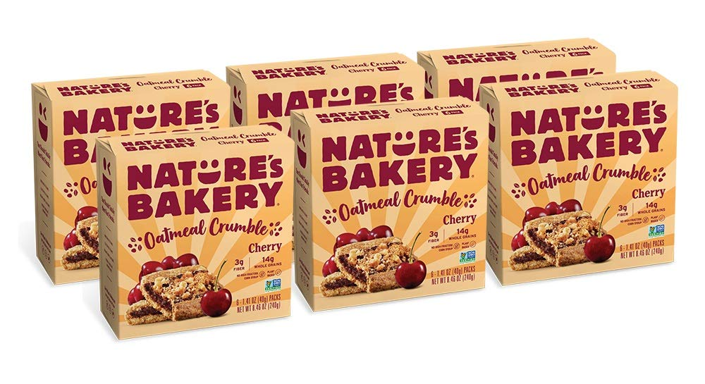 Nature's Bakery Oatmeal Crumble Bars, Cherry, Real Fruit, Vegan, Non-GMO, Breakfast bar, 6 boxes with 6 bars (36 bars)