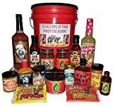 5 Gallons of Pain Spicy Gourmet Gift Set - Hot Sauce & Spicy Food Basket for Men & Women by Just Enough Heat