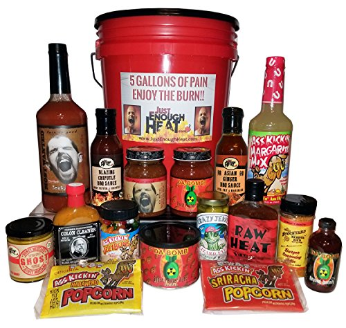 5 Gallons of Pain Spicy Gourmet Gift Set - Hot Sauce & Spicy Food Basket for Men & Women by Just Enough (Ginger Glazed Chicken)