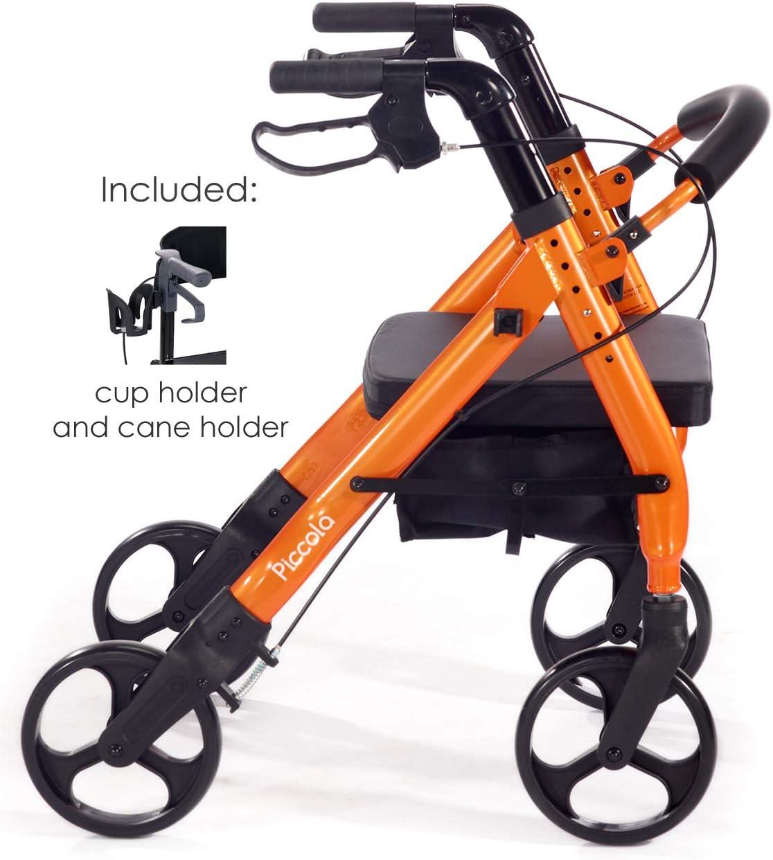 """Comodità Piccola (Petite) Heavy Duty Rollator Walker with Comfortable 15"""" Wide Seat (Metallic Orange) 61xokZ0KV4L"""