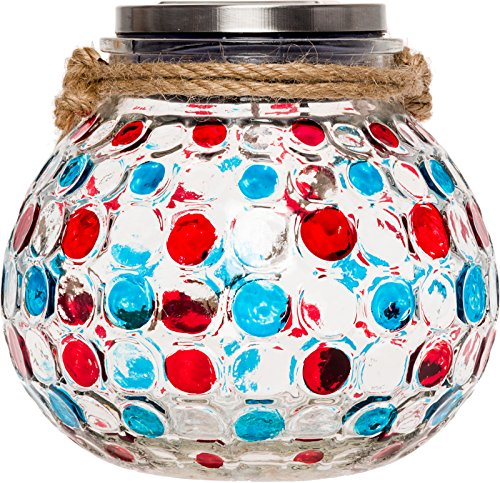 GreenLighting Dotted Solar Jar Light - Decorative LED Glass Table Lantern by (Blue & Red) (Panel With Wall Outdoor Bench)