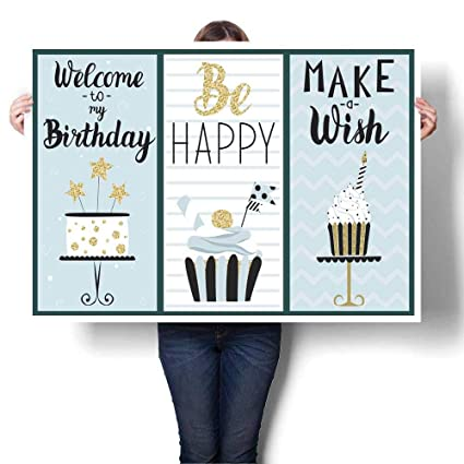 Anyangeight Wall Hangings Happy Birthday Card With Cake Decorative Fine Art Canvas Print Poster K 24quot