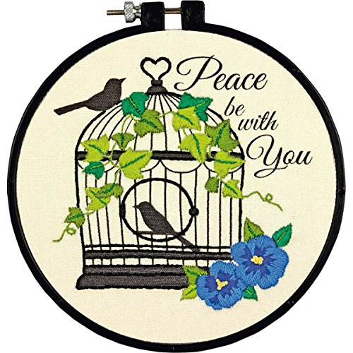 Dimensions ''Peace Be With You'' Birdcage Embroidery Kit for Beginners, 6'' D