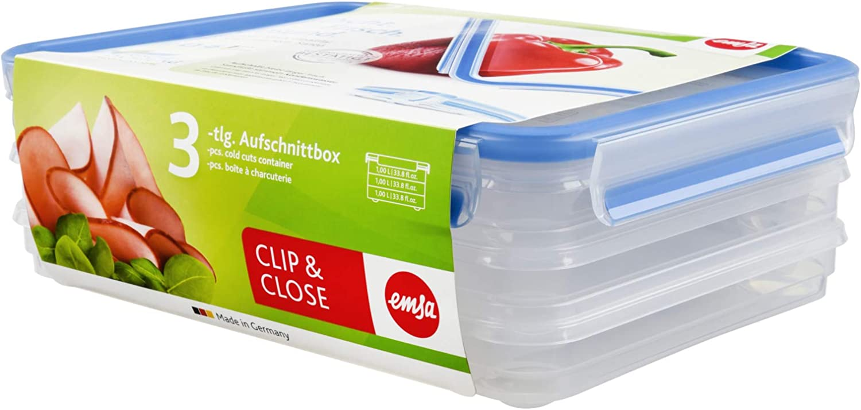 Emsa Clip&Close - Set de 3 Conservadores Herméticos de Plástico Rectangular 1L con Sistema apilable y colector de jugos, higiénico, no retiene olores ni sabores 100% Libre de BPA