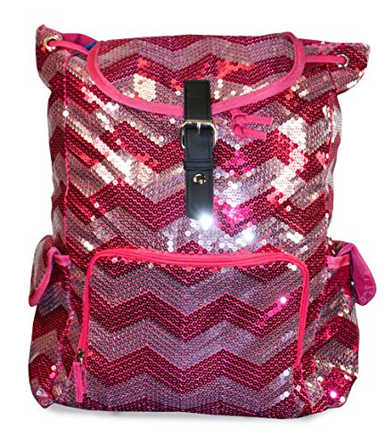 N. Gil Pink Silver Sequin Chevron Backpack School Bag