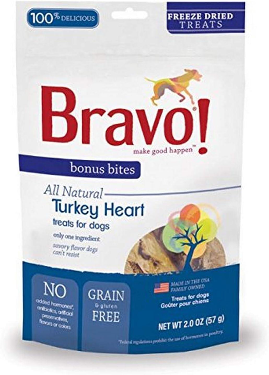Bravo Bonus Bites Freeze Dried Turkey Heart, 2-Ounce