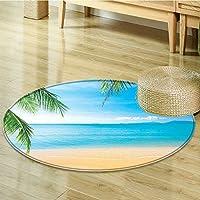 Round Rug Kid Carpet Themed Lagoon anf Sand Sea Paradise Print Blue Ivory Home Decor Foor Carpe-Round 24