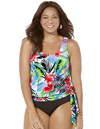185ce5ad70 Swimsuits for All Women s Tropical Blouson Tankini Top at Amazon Women s  Clothing store
