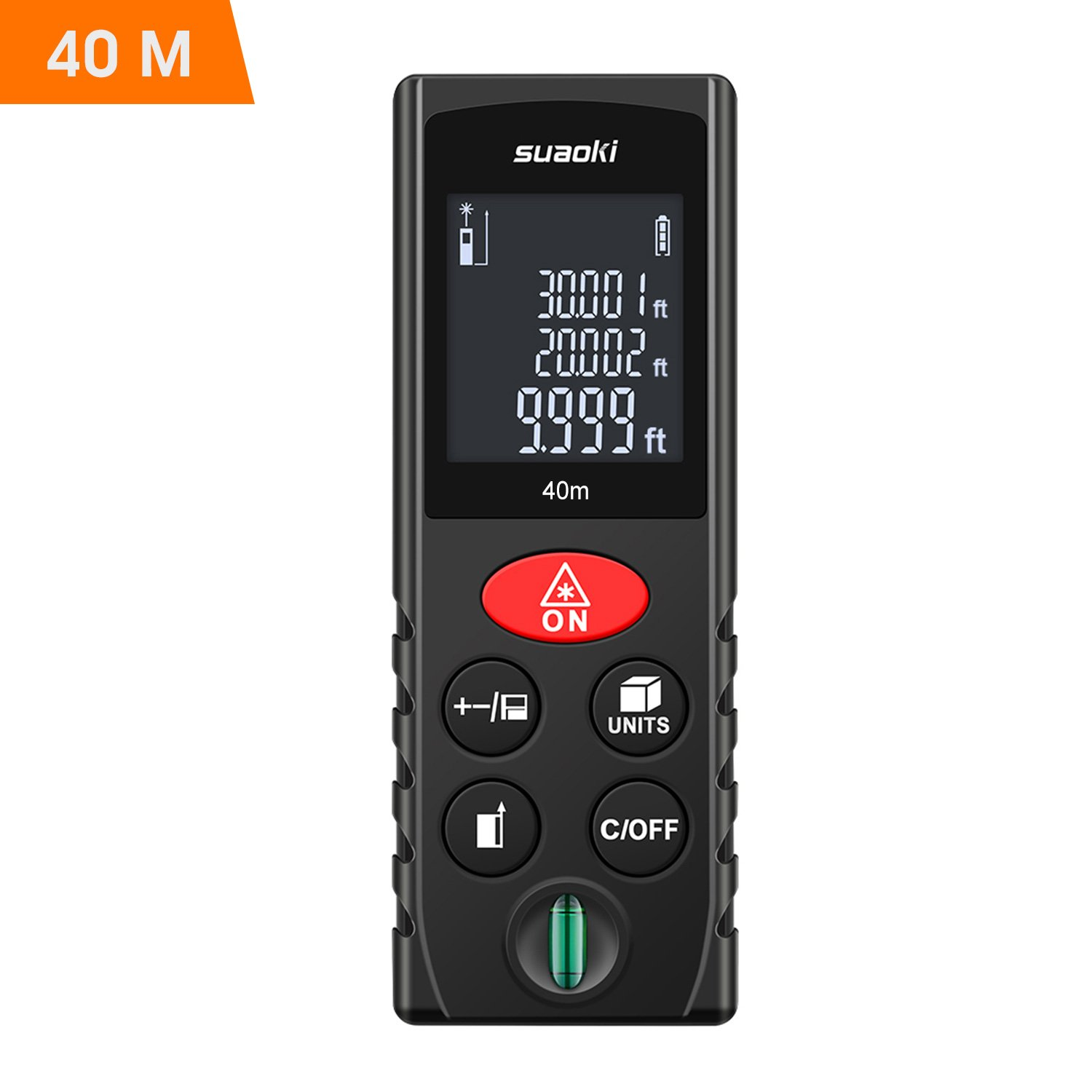 Suaoki Laser Measure 131Ft with Multi Function Laser Measuring Device with Bubble Level, Pythagorean Mode, Area and Volume Calculation - Battery Included