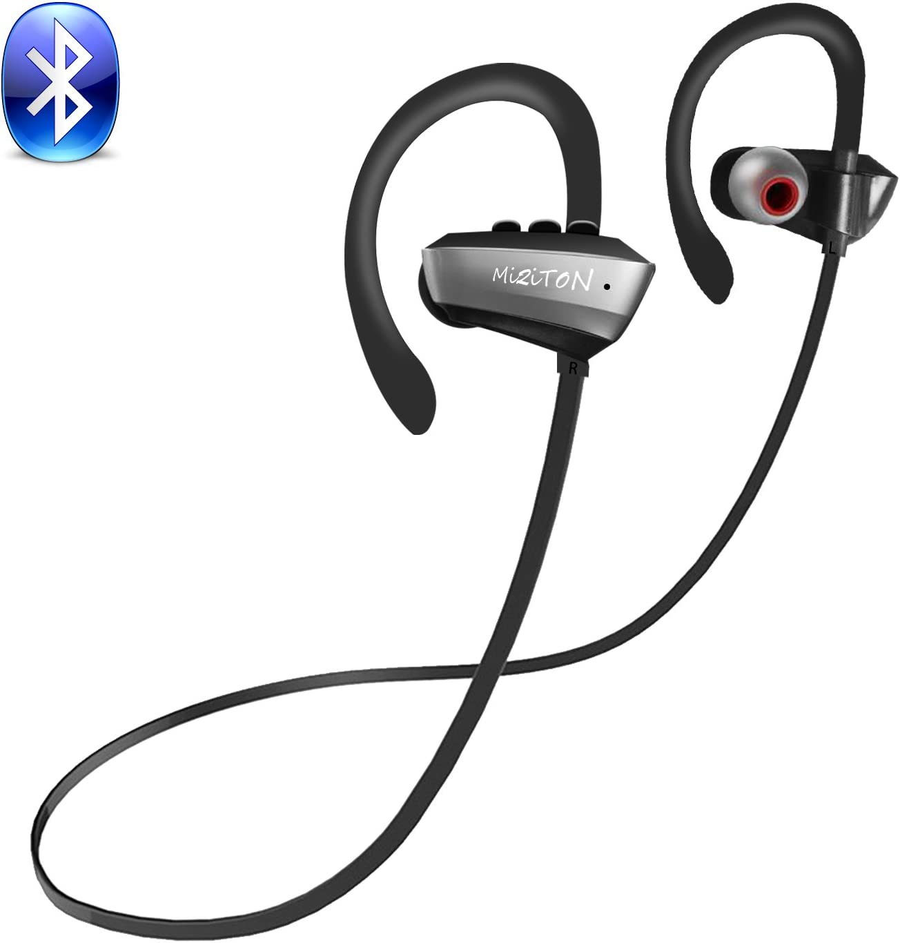 MiZiTON U7P Bluetooth Headphones Real IPX7 Waterproof and Sweatproof Wireless Sports Headphones with Microphone for Gym Running Exercise Driving 8 Hours Battery Noise Cancelling Headphones (Gray)