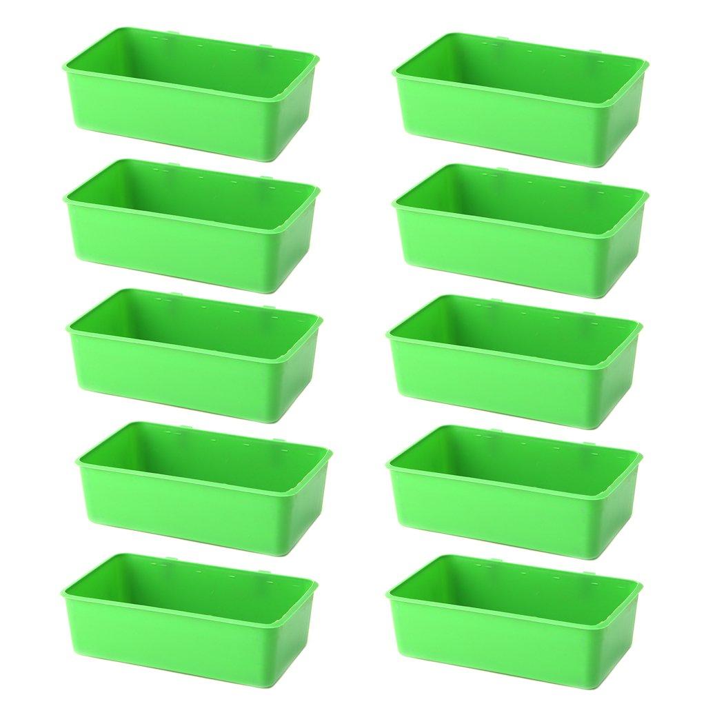 Jiamins 10 Pack Mangeoire en Plastique Durable pour Oiseaux, Récipient de Nourriture ou d'eau, Mangeoire à Oiseaux - Peut accrocher sur la Cage