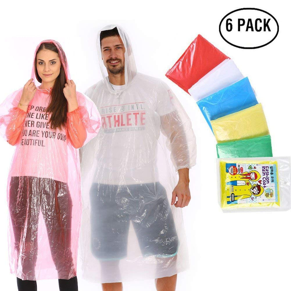 Rain Poncho for Adults (6 Pack), Emergency Disposable Rain Poncho for Men Women with Drawstring Hood and Elastic Sleeve Ends, Super Lightweight Rain Gear Family Pack for Outdoor Activities No Chemical Smell (C-1) EaseTech