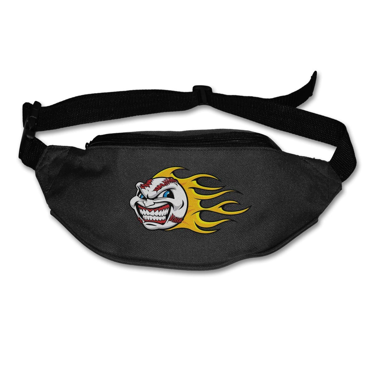 Waist Purse Cartoon Fireball Softball Pattern Unisex Outdoor Sports Pouch Fitness Runners Waist Bags