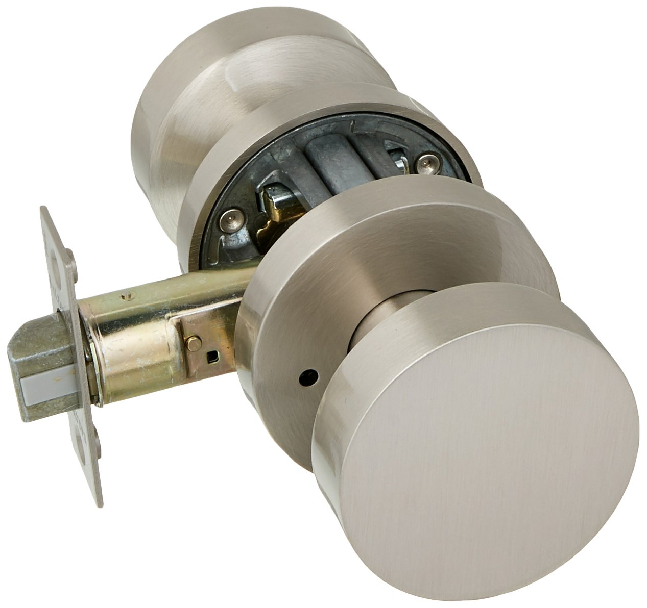 Baldwin PV.CON.CRR Modern Privacy Door Knob Set with Modern Round Rose from The Satin Nickel