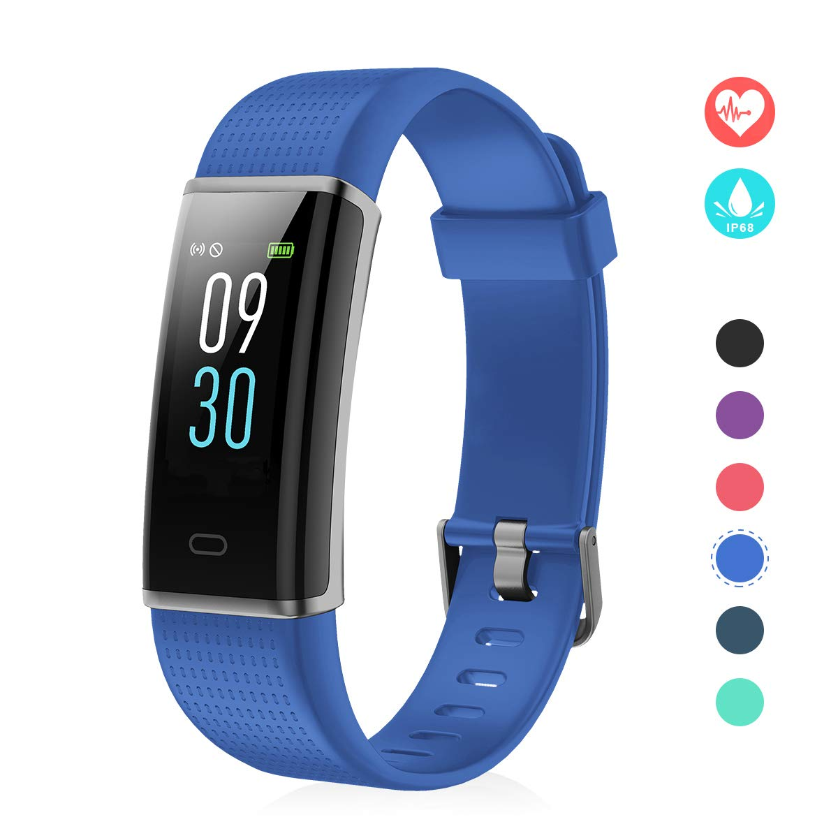 EFO SHM Fitness Tracker mit Pulsmesser, Schrittzähler Uhr Fitness Armband Wasserdicht Schwimmen Aktivitätstracker Schlafanalyse Kalorienzähler Anruf/SMS Kompatibel mit iPhone und Android EFO-S 130C