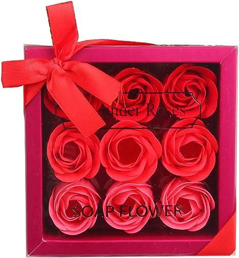 Hilai 12pcs Rose Savon Décoratifs Parfumé Bain Fleur Bouquet Fleur D Or Boîte Cadeau Pour Anniversaire Mariage Jour La Fête De Saint Valentin Rouge