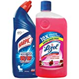 Lizol Disinfectant Surface & Floor Cleaner, Floral - 975 ml + Harpic Powerplus Disinfectant Toilet Cleaner, Original - 1 L