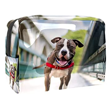 Cosmetic Case Dog Red Collar On The Bridge Waterproof Zipper Pouch Travel Cosmetic Organizer for Women and Girls 7.3x3x5.1in