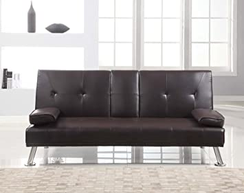 Tinkertonk Modern Cinema Style 3 Seater Faux Leather Sofa Bed And Fold Down  Drinks Holder Living