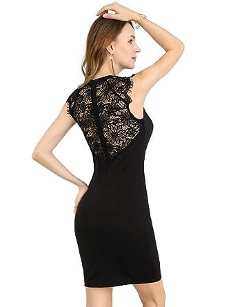 5475ce28b0 Allegra K Women's Lace Floral Sheer Back Crew Neck Sleeveless Elegant Lady  Bodycon Mini Sheath Dress