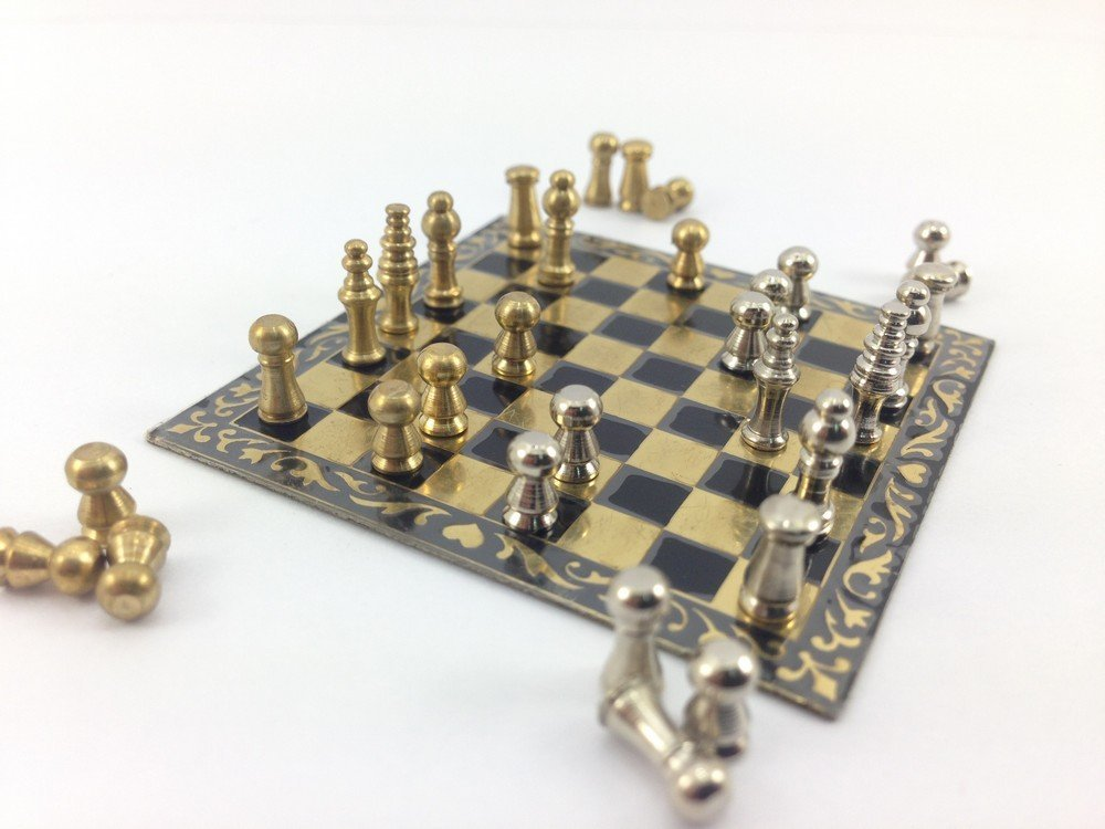 Amazon com: Mini Chess Set Miniature Brass Decoration Doll
