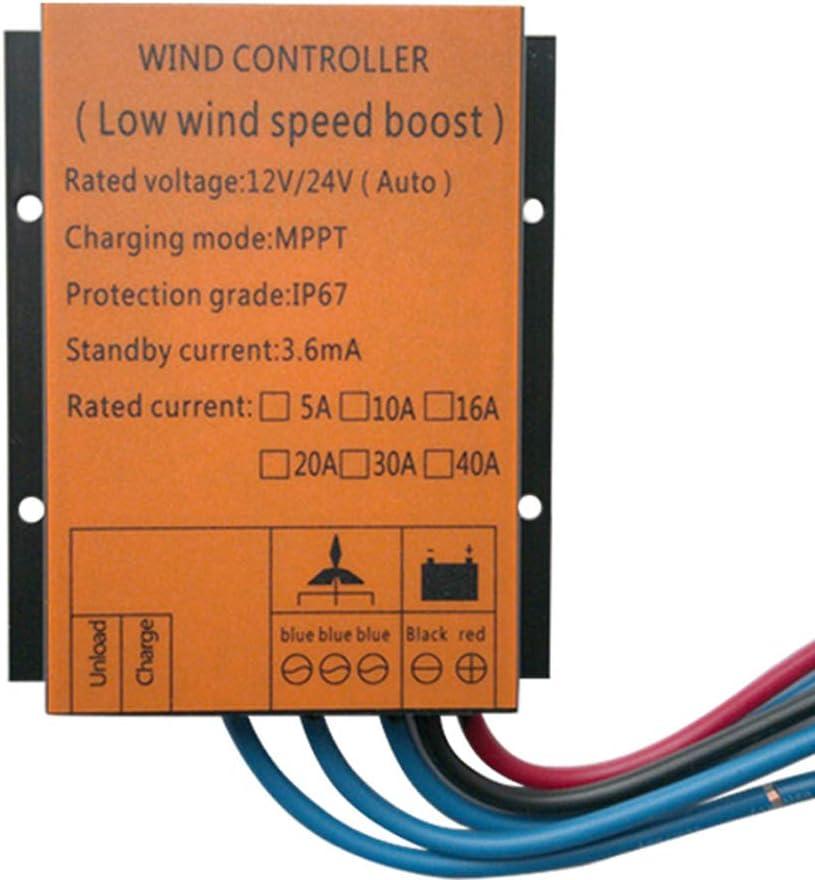 AZUOYI Controladores De Energía, 500W(12/24V) Controlador De Carga Eólica Regulador De Carga del Generador De Turbina De Viento con El Indicador del LED