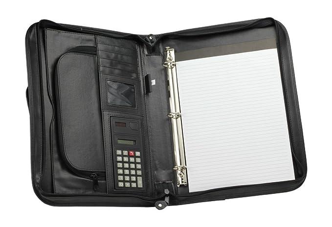 impecgear Ejecutivo carpeta de cartón con cremallera cartera portadocumentos, W/Smart Integrado en el mango, calculadora: Amazon.es: Oficina y papelería