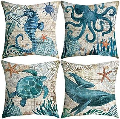 4 Pack Throw Pillow Case Fundas de Almohada Decorativas de ...